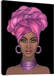 LB African American Woman Framed Canvas Wall Art Black Girl with Pink Hair Painting Canvas Prints Living Room Bedroom Bathroom Home Modern Decor Artwork Framed Ready to Hang,12x16inch