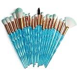 KOLIGHT 20 Pcs Pro Makeup Set Powder Foundation Eyeshadow Eyeliner Lip Cosmetic Brushes (Blue Shiny)
