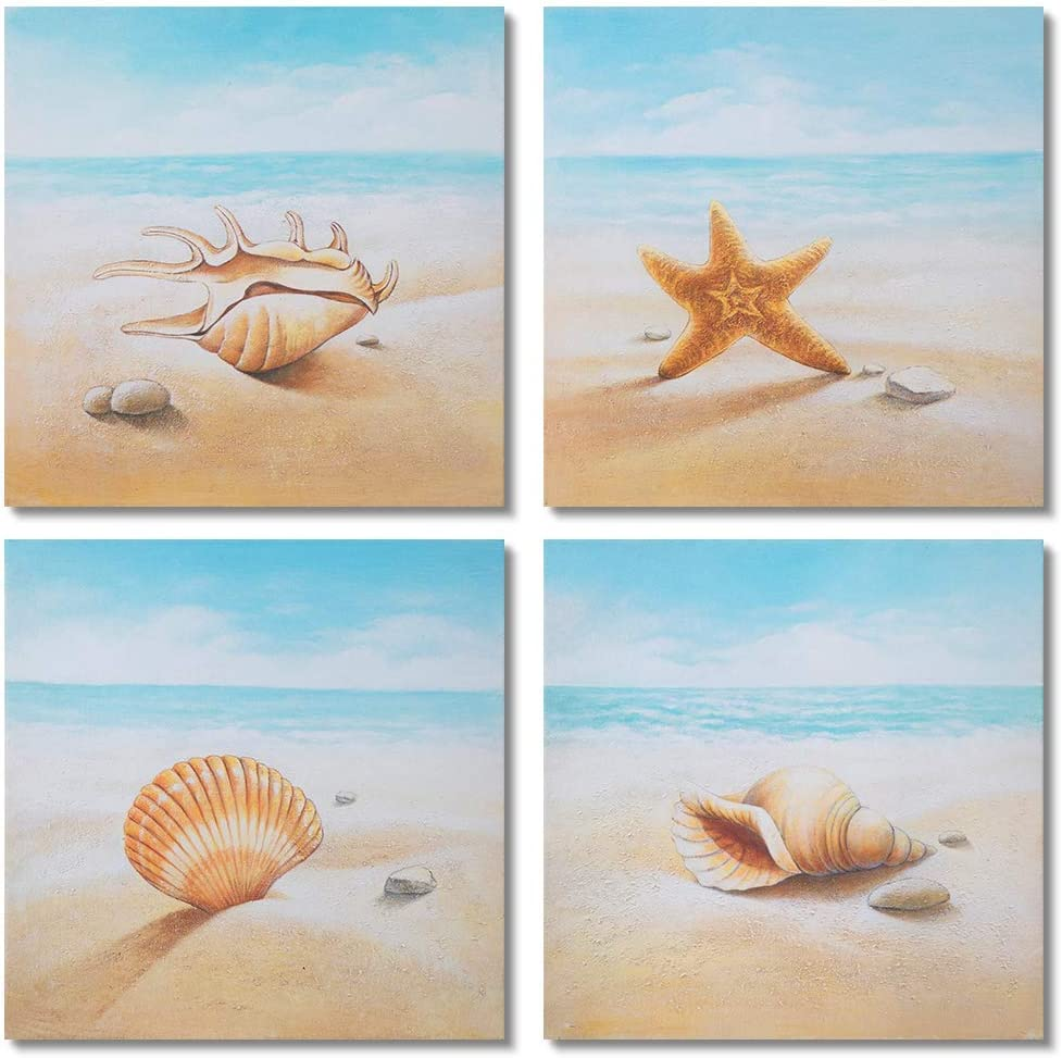 Gold Orange Starfish and Seashells on The Beach 4 PCS Oil Painting Beach Stone Sea Shells Sand Sunshine Wall Art Stretched Canvas Art Set Framed 16x16inch4pcs