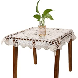 yazi Handmade Crochet Doilies Flower Tablecloth Cotton Sofa Doily Hollow Table Cover Home Décor Beige Color 23.6inch