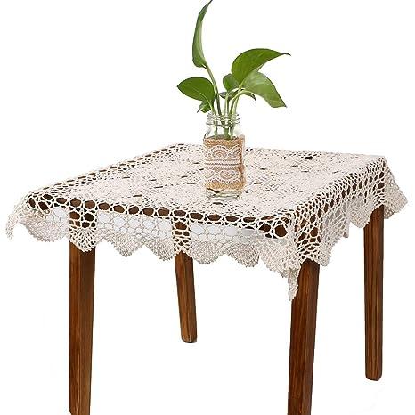 Yazi Vintage mantel toalla de mano), diseño de flores de ganchillo sofá beige cuadrado