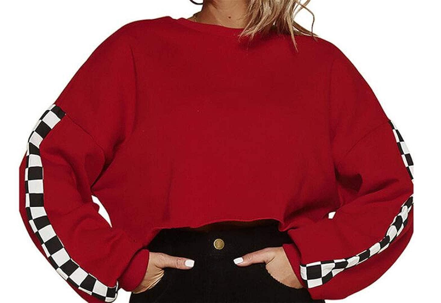 CMCYY Women Crewneck Long Sleeve Plaid Racing Hip Hop Crop Pullover Sweatshirts