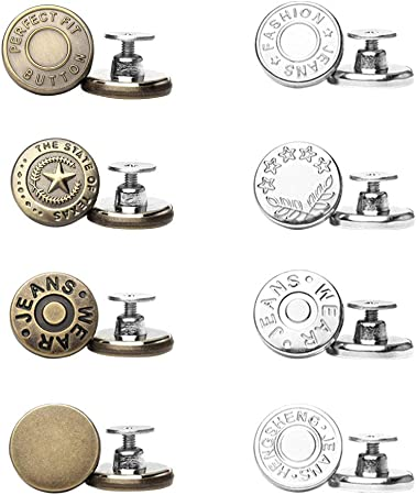 8 Sets Instant Button, Replacement Jean Buttons, Removable Metal Button