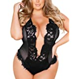 Sexy Lingerie for Women Plus Size Sexy Deep V Satin Babydoll Mesh Lace Bodysuit