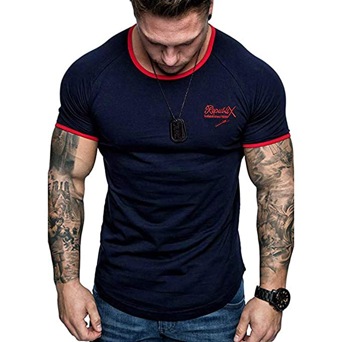 Color Algodón Sólido Ropa Camiseta Casual De Aimee7 Moda Hombre eW9IEDHY2