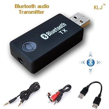 USB Transmisor Bluetooth, kanglongjia Portátil Inalámbrico Música Adaptador Transmitter Estéreo 3.5mm para Hogar y Sistemas del Sonido Coches (TV, ...