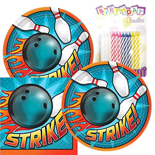 Lobyn Value Pack Bowling Party Plates and Napkins Serves 16 with Birthday Candles