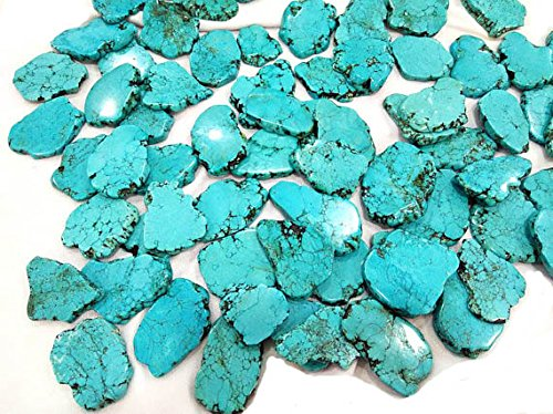 10pcs 25X50mm Natural Turquoise Slab Freeform Cabochons Gemstone jewelry pendant (Freeform Turquoise Pendant Bead)