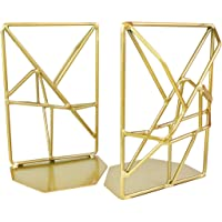 JINSEY Bookends,Decorative Bookends for Heavy Books Metal Bookends Gold Non-Skid Heavy Duty Bookshelf Holder Unique Geometric Design 2 Pieces