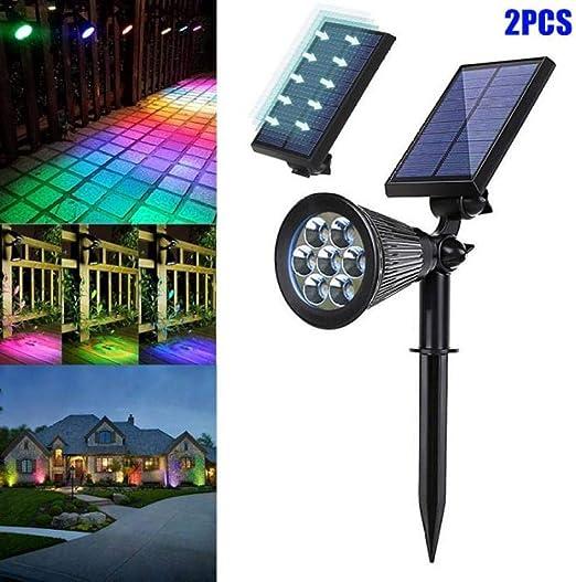 STHfficial 2 Piezas Proyectores Solares Luces 7 Colores Cambian Luces Al Aire Libre para Patio Patio Jardín Jardín DAG-Ship: Amazon.es: Jardín