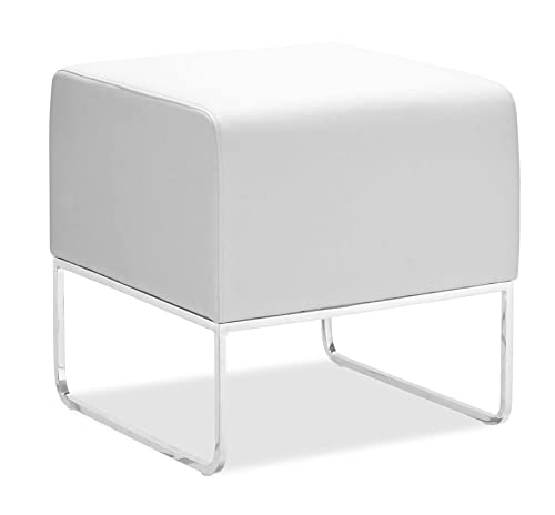 Zuo Modern Plush Ottoman in White Contemporary and compact, upholstered in leatherette that stands up to high traffic Understated chromed steel tube legs 150 lbs. weight capacity Dimensions 18 W x 18 H x 18.5 D