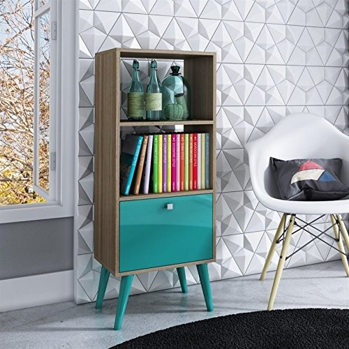- Manhattan Comfort Sami Collection Modern Sophisticated Tall Standing 1 Drawer and 2 Open Shelf Book Case, Oak and Aqua