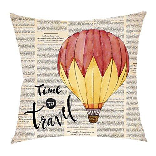 NDJHEH Retro Page dictionary hot air balloon Time to travel Cotton Linen Square Throw Waist Pillow Case Decorative Cushion Cover Pillowcase Sofa 18