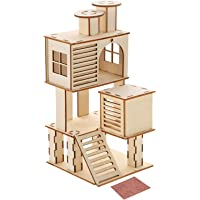 POPETPOP Wooden Hamster House with Slide Hideout Hut Habitat Hut Play Toys Chews for Small Animals Dwarf Hamster Mouse
