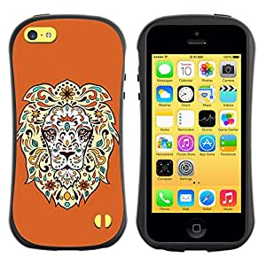 Fuerte Suave TPU GEL Caso Carcasa de Protección Funda para Apple Iphone 5C / Business Style Cool Awesome Floral Lion