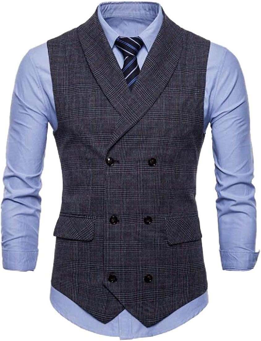 ONTBYB Mens Plaid Waistcoat Slim Fit Double Breasted Button Down Vest