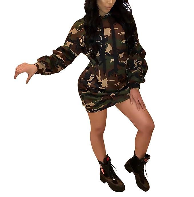 best website 43385 d064e Vestito Donna Elegante Camouflage Felpa Cappuccio Vestiti ...