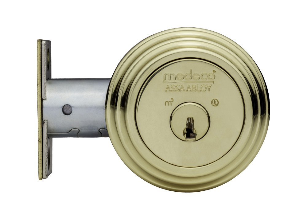 Medeco 11R533-05-1 Maxum Deadbolt, Captive Thumb Turn, Polish Brass Finish, 2-3/8'' Backset, 1'' Faceplate