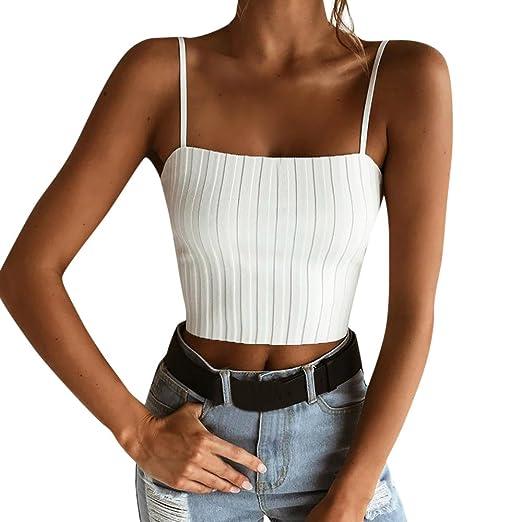 99abaa7c972 chengzhijianzhu Women Shirts Teen Girls Tank Crop Cami Tops Camisole Womens  Slim Solid Tank Top Off Shoulder Halter T-Shirt at Amazon Women s Clothing  store ...