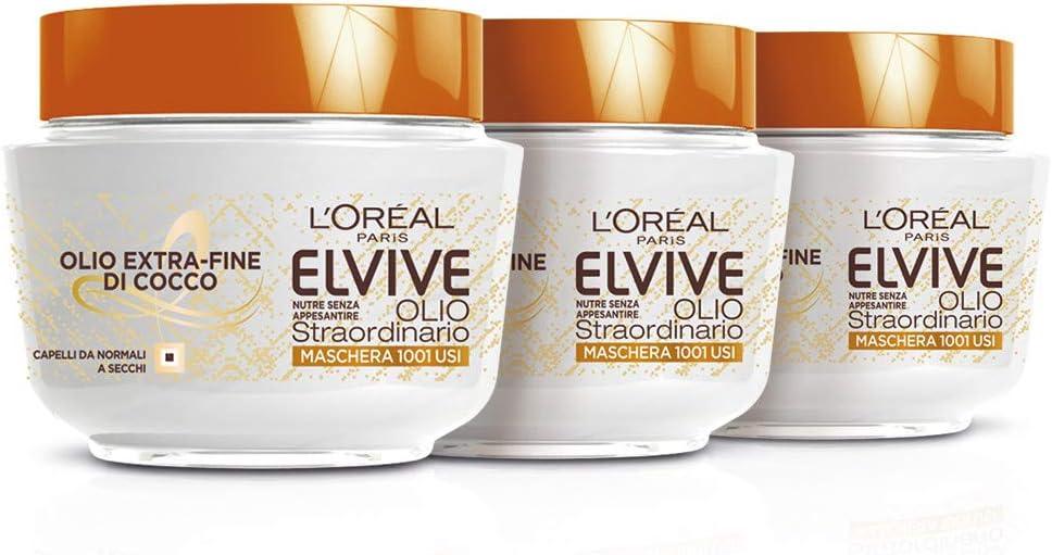 L 'Oréal Paris Máscara Nutriente Elvive Aceite excepcional aceite Fine de coco para cabello para normal a cubos, 300ml–3paquetes