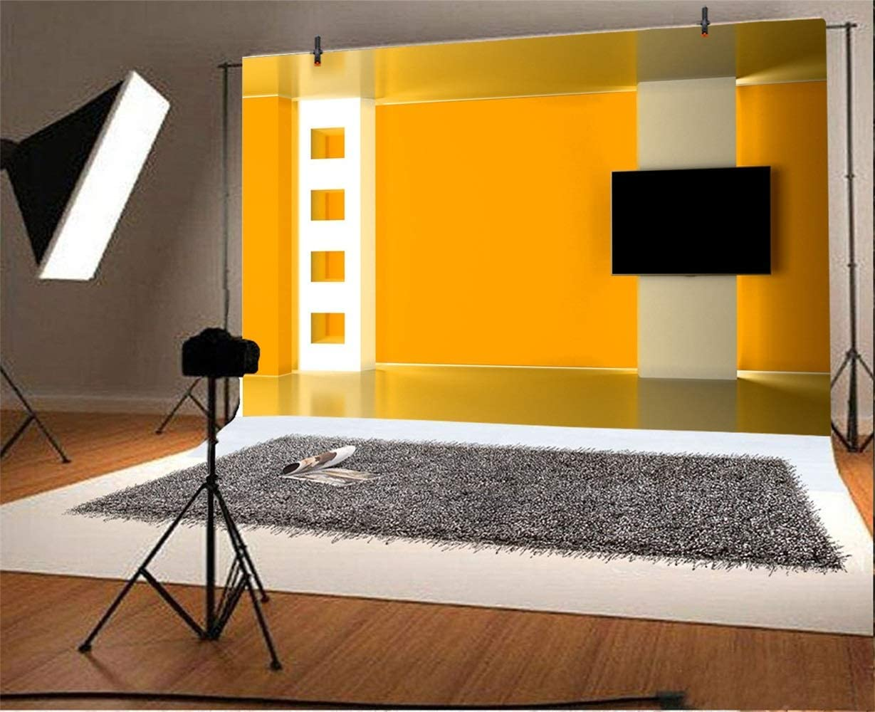 GoEoo News Room Interior Backdrop Vinyl 10x7ft Orange Broadcasting Room Wall Television Compere Photography Background TV Station Programing Live Video Banner Background Wall Photocall