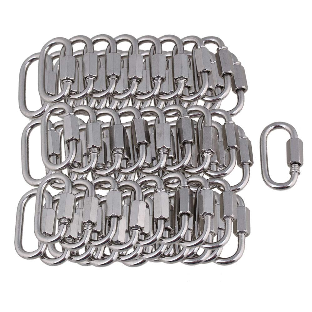 100PCS 304 Stainless Steel with Nut Quick-Connect Rigging M3.5 Hook Connector Prevents Corrosion