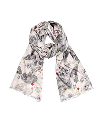 Women's Vintage Butterfly Star Print Scarf in Natural Cotton