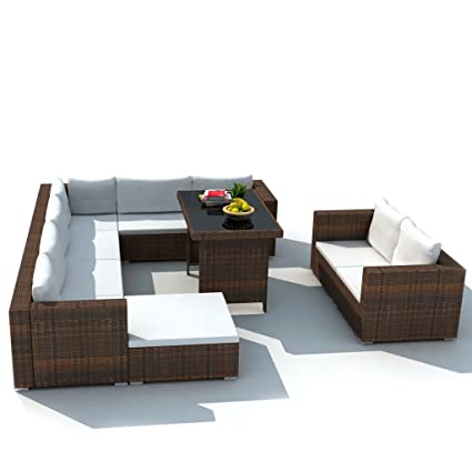 Astounding Festnight 28 Pieces Patio Dining Sofa Set Poly Rattan Outdoor Garden Sectional Sofa Conversation Furniture Set With Cushions And Ottoman Brown Cjindustries Chair Design For Home Cjindustriesco