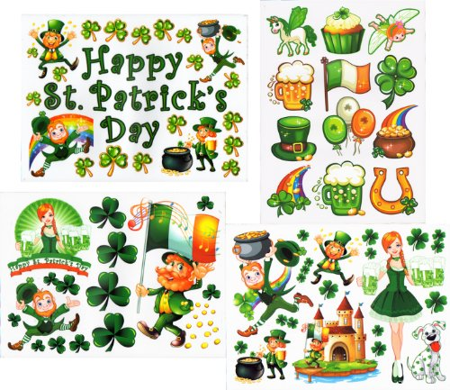 St Patrick's Day Window Clings Decals Kit -