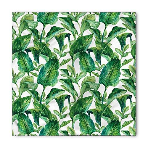 Ambesonne Unisex Bandana, Leaf Watercolored Banana Tree, Forest Green