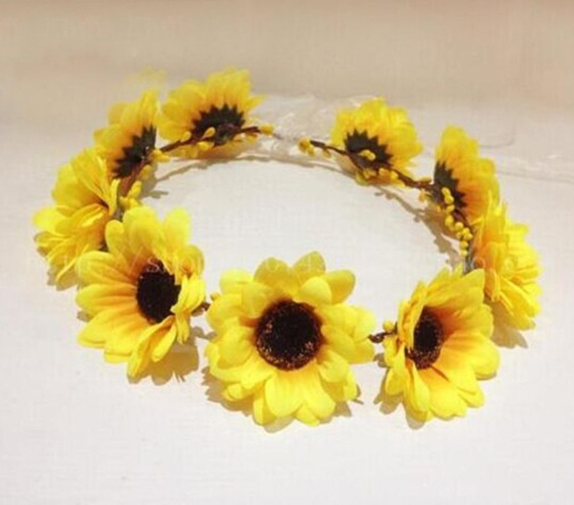 Amazon artificial fabric sunflowers crown headpiece floral hair amazon artificial fabric sunflowers crown headpiece floral hair garland wreath accessories piece hairband adjustable headband with ribbons for girls mightylinksfo