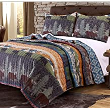 2 Piece Black Bear Brown Moose Quilt Twin Set, Hunting Themed Bedding, Striped Lodge Cabin Southwest Pattern, Mountains Pine Trees Wildlife Animal Game, Tribal Designs, Red Blue Brown Orange Green