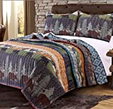 3 Piece Black Bear Brown Moose Quilt Full Queen Set, Hunting Themed Bedding, Striped Lodge Cabin Southwest Pattern, Mountains Pine Trees Wildlife Animal Game, Tribal Designs, Blue Brown Orange Green