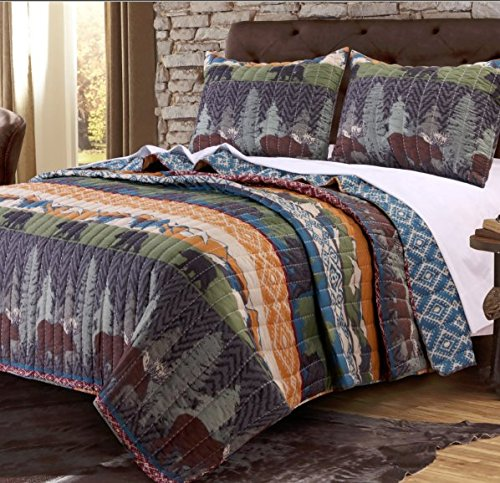 3 Piece Black Bear Brown Moose Quilt Full Queen Set, Hunting Themed Bedding, Striped Lodge Cabin Southwest Pattern, Mountains Pine Trees Wildlife Animal Game, Tribal Designs, Blue Brown Orange Green by OS (Image #1)
