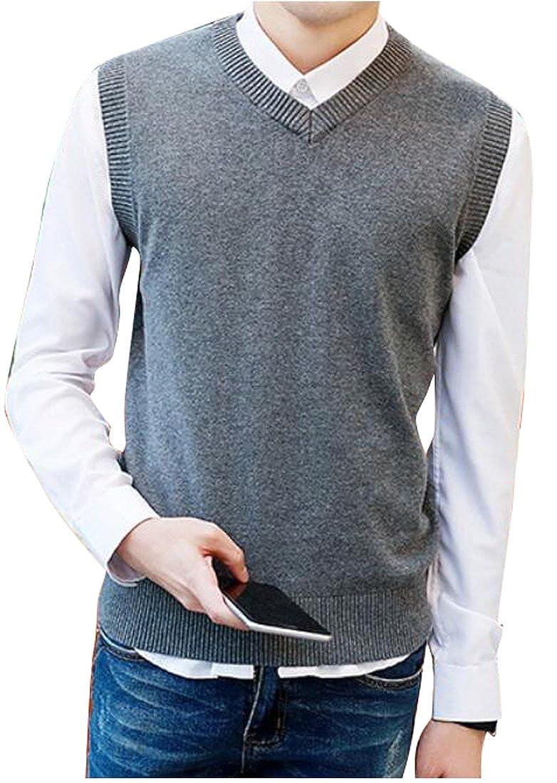 OULIU Mens Basic Solid V-neck Slim Pullover Knitted Sweater Vest