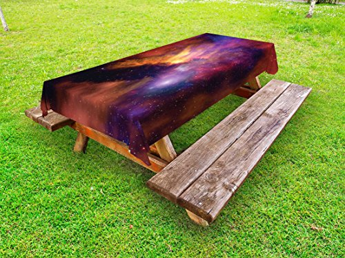 Lunarable Outer Space Outdoor Tablecloth, Space Stars and Nebula Gas and Dust Cloud Celestial Solar Galaxy System, Decorative Washable Picnic Table Cloth, 58 X 84 inches, Purple Red Orange by Lunarable