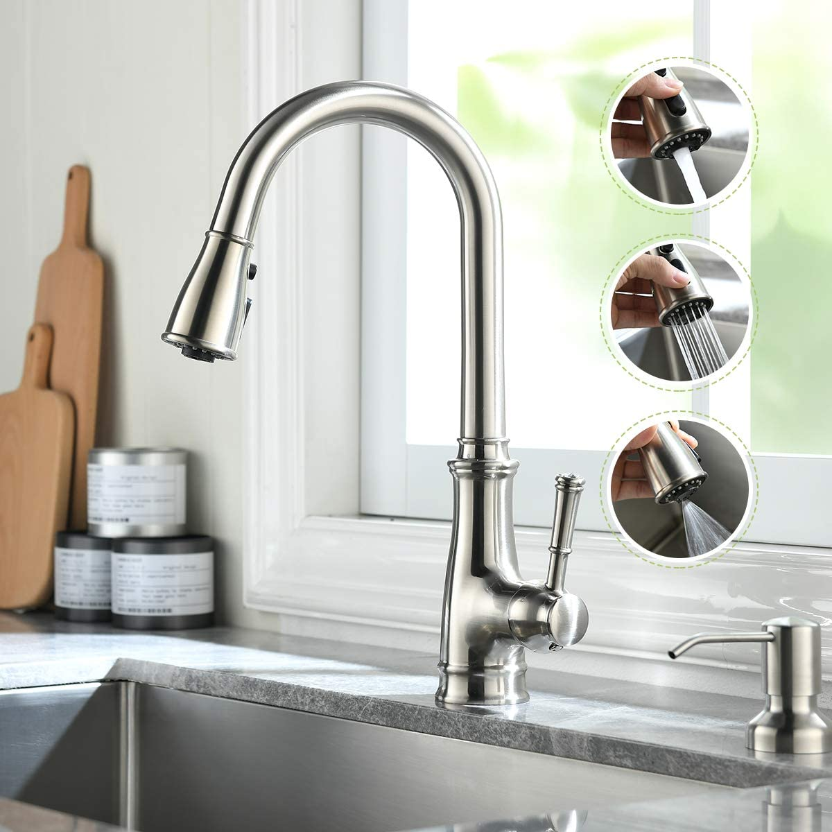 Kitchen Faucets with Pull Down Sprayer and Soap Dispenser, Nickel Stainless Single Handle