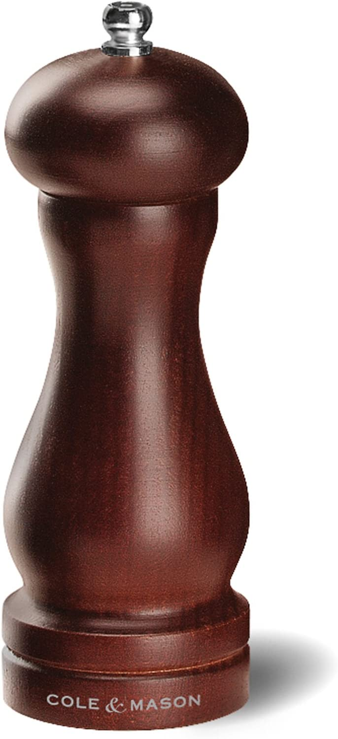 COLE & MASON Capstan Wood Pepper Grinder - Wooden Mill Includes Precision Mechanism, 6.5 inch