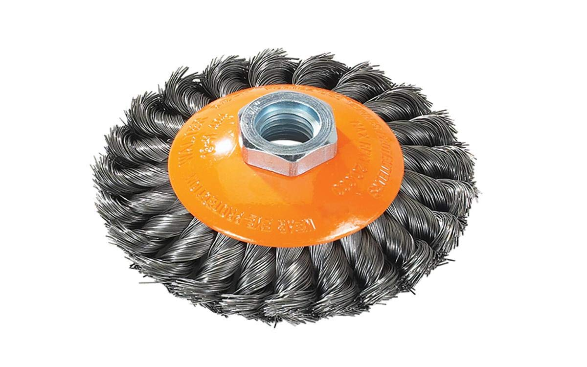 5 in Arbor Hole Walter 13H514 Saucer-Cup Knot-Twisted Brush Blue Surface Finishing Supplies Carbon Steel Wire Brush with 5//8-11 in