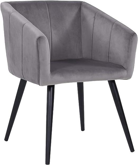 materiale:velluto Duhome 4x Sedia da sala da pranzo sedia imbottita design retro con piedini in metallo vintage 8043Lx4 colore:rosa