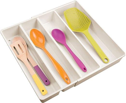 mDesign Organizador de cubiertos con 4 divisiones – Cuberteros extensibles para ordenar utensilios de cocina en cajones – Bandeja para cubiertos y ...