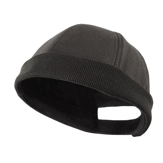 Image Unavailable. Image not available for. Color  Shanghaipop Men Skullcap  Sailor Cap Rolled Cuff Retro Fashion Brimless Hat Black c08eba8ce37b
