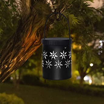 Uonlytech - Farolillos solares de hierro, lámparas solares con asa de jardín solar exterior, luces decorativas para cortar árbol, patio, paisaje: Amazon.es: Iluminación