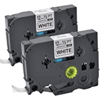 """2 Pack Replace P Touch Label Tape Compatible Brother P-Touch TZ TZe TZ231 TZe231 Standard Laminated, Black on White, 1/2"""" X 26.2' (12mm x 8m)"""