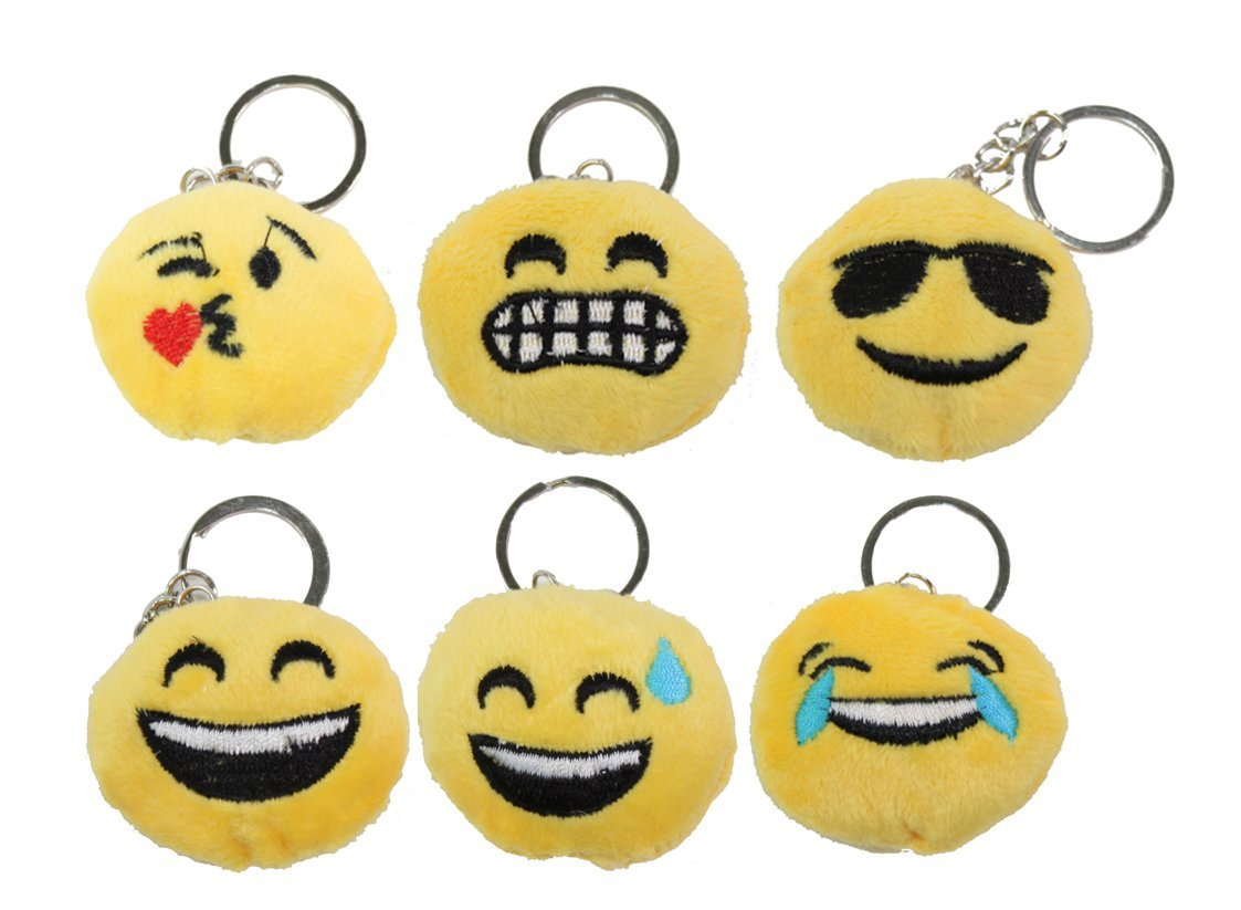 Amazon.com : Set of 6 ~ Emoji happy Face Keychain Key Chain ...
