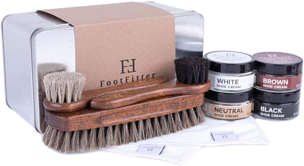FootFitter Shoe Shine Brush and Polishing Set - (4) Shoe Creams, (3) Horsehair Brushes, (2) Microfiber Shine Cloths, (1) Gift Tin!