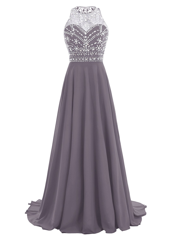 Bbonlinedress Women Long Chiffon Beadings Scoop Prom Party Dresses Evening Gown Grey 10