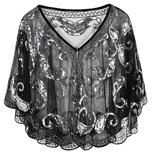 PrettyGuide Women's Evening Cape 1920s Paisley Cocktail Flapper Beaded Shawl Black ()
