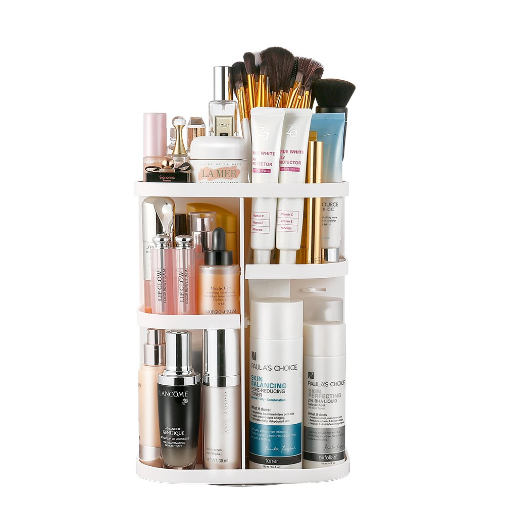 Jerrybox Vanity Organizer, 360° Rotation Makeup Organizer Spinning Holder Storage Rack for Countertop, Fits Makeup Brushes, Lipsticks, Square, White