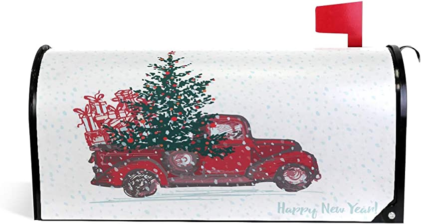 Amazon Com Christmas Red Truck Car Tree Snow Magnetic Mailbox Cover Mailwraps Oversized 25 5 L X 20 8 W Winter Happy New Year Large Mailbox Wraps Post Box Garden Yard Home Decor For Outside Garden
